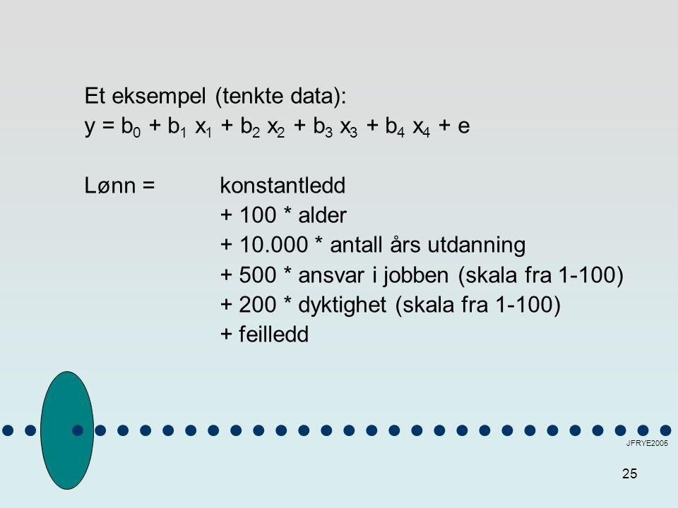 25 JFRYE2005 Et eksempel (tenkte data): y = b 0 + b 1 x 1 + b 2 x 2 + b 3 x 3 + b 4 x 4 + e Lønn = konstantledd + 100 * alder + 10.000 * antall års utdanning + 500 * ansvar i jobben (skala fra 1-100) + 200 * dyktighet (skala fra 1-100) + feilledd