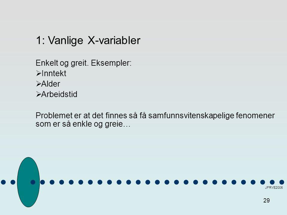 29 JFRYE2005 1: Vanlige X-variabler Enkelt og greit. Eksempler:  Inntekt  Alder  Arbeidstid Problemet er at det finnes så få samfunnsvitenskapelige