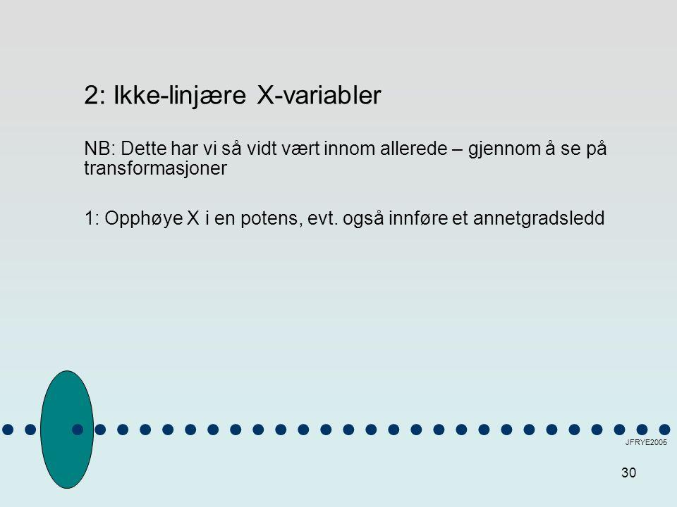 30 JFRYE2005 2: Ikke-linjære X-variabler NB: Dette har vi så vidt vært innom allerede – gjennom å se på transformasjoner 1: Opphøye X i en potens, evt