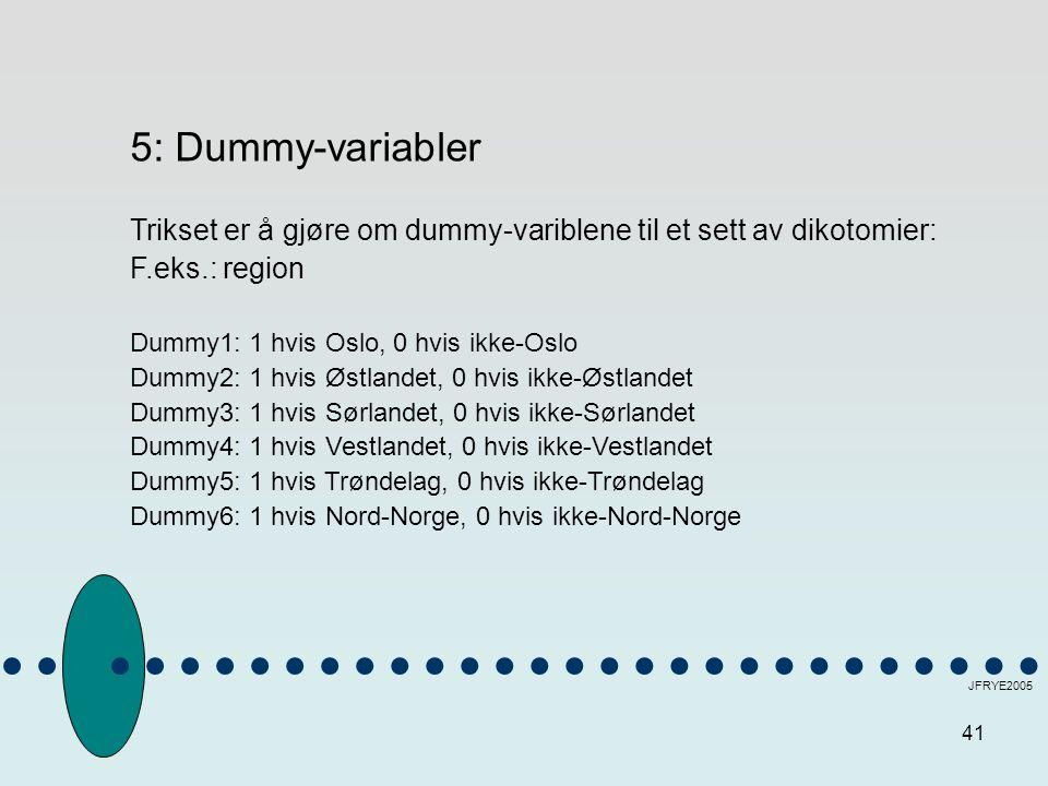 41 JFRYE2005 5: Dummy-variabler Trikset er å gjøre om dummy-variblene til et sett av dikotomier: F.eks.: region Dummy1: 1 hvis Oslo, 0 hvis ikke-Oslo Dummy2: 1 hvis Østlandet, 0 hvis ikke-Østlandet Dummy3: 1 hvis Sørlandet, 0 hvis ikke-Sørlandet Dummy4: 1 hvis Vestlandet, 0 hvis ikke-Vestlandet Dummy5: 1 hvis Trøndelag, 0 hvis ikke-Trøndelag Dummy6: 1 hvis Nord-Norge, 0 hvis ikke-Nord-Norge