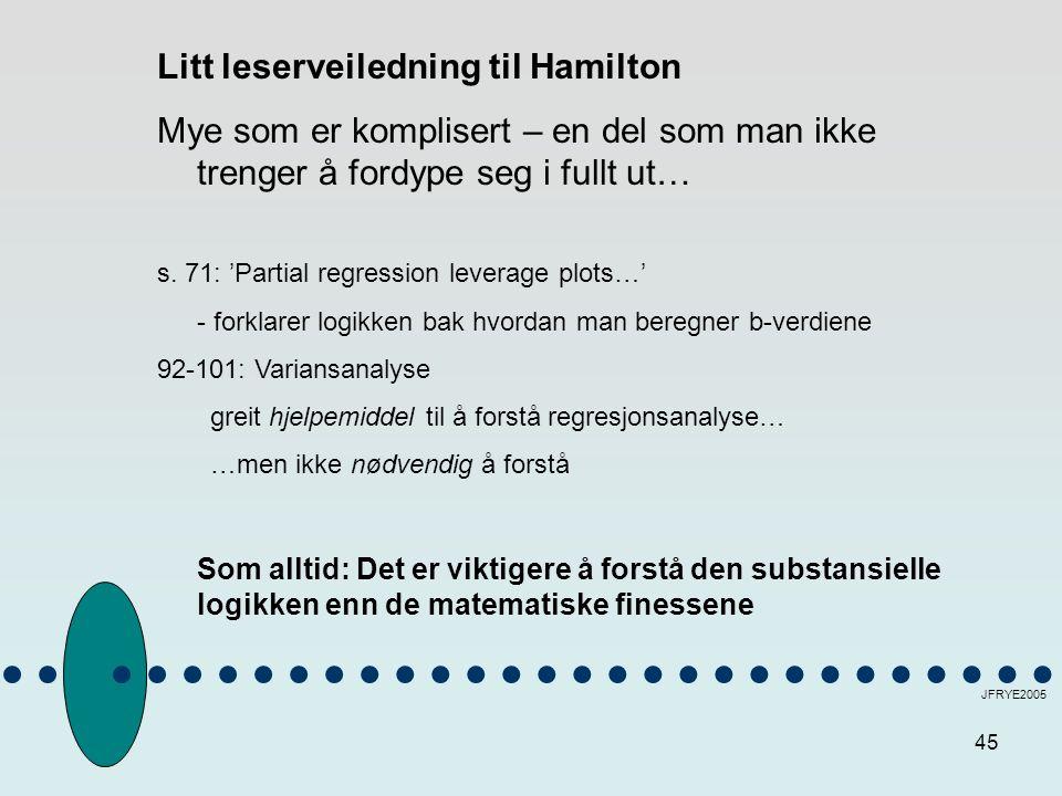 45 JFRYE2005 Litt leserveiledning til Hamilton Mye som er komplisert – en del som man ikke trenger å fordype seg i fullt ut… s. 71: 'Partial regressio