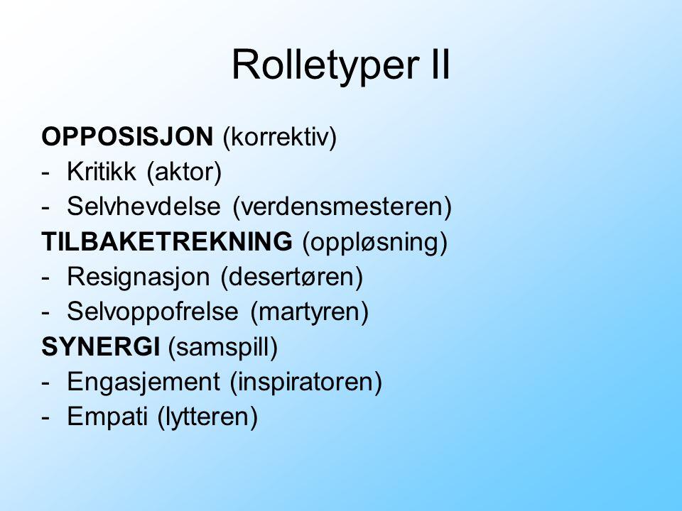 Rolletyper II OPPOSISJON (korrektiv) -Kritikk (aktor) -Selvhevdelse (verdensmesteren) TILBAKETREKNING (oppløsning) -Resignasjon (desertøren) -Selvoppo