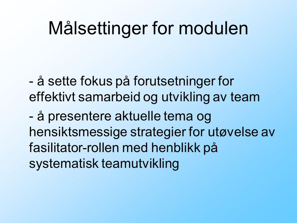 Målsettinger for modulen - å sette fokus på forutsetninger for effektivt samarbeid og utvikling av team - å presentere aktuelle tema og hensiktsmessig