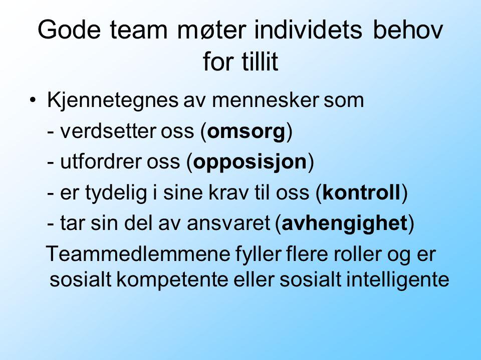 Gode team møter individets behov for tillit Kjennetegnes av mennesker som - verdsetter oss (omsorg) - utfordrer oss (opposisjon) - er tydelig i sine k