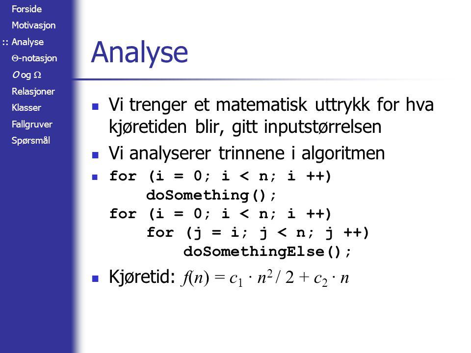 Forside Motivasjon Analyse  -notasjon O og  Relasjoner Klasser Fallgruver Spørsmål Fallgruver Grunntallet til en logaritme har ikke noe å si for kompleksiteten: lg a n =  (lg b n) Grunntallet til en potens har mye å si for kompleksiteten: a n   (b n ) Er 2 n + c =  (2 n ) .
