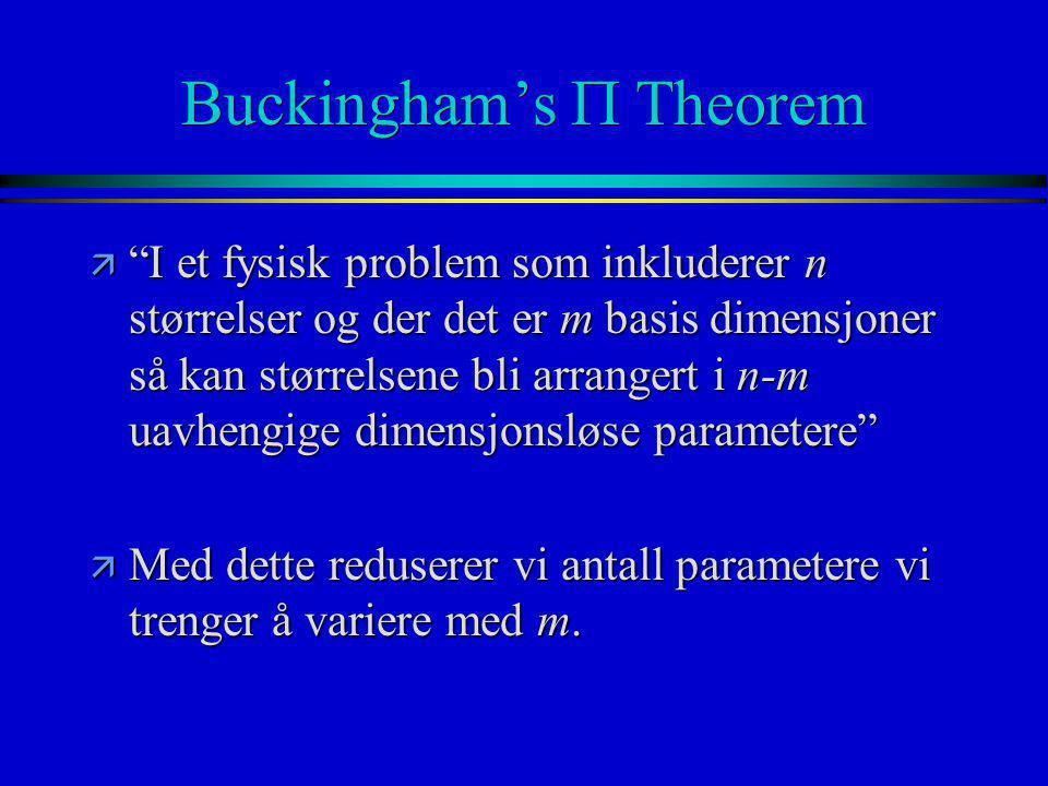 """Buckingham's  Theorem ä """"I et fysisk problem som inkluderer n størrelser og der det er m basis dimensjoner så kan størrelsene bli arrangert i n-m uav"""