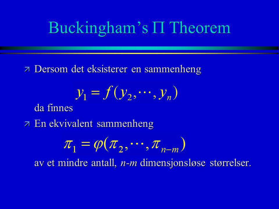 Buckingham's  Theorem ä Dersom det eksisterer en sammenheng da finnes ä En ekvivalent sammenheng av et mindre antall, n-m dimensjonsløse størrelser.