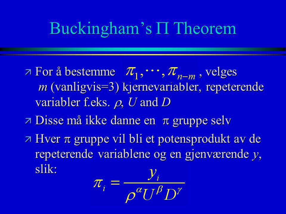Buckingham's  Theorem  For å bestemme, velges m (vanligvis=3) kjernevariabler, repeterende variabler f.eks. , U and D  Disse må ikke danne en  gr