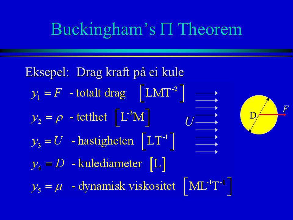 Buckingham's  Theorem Eksepel: Drag kraft på ei kule D U F