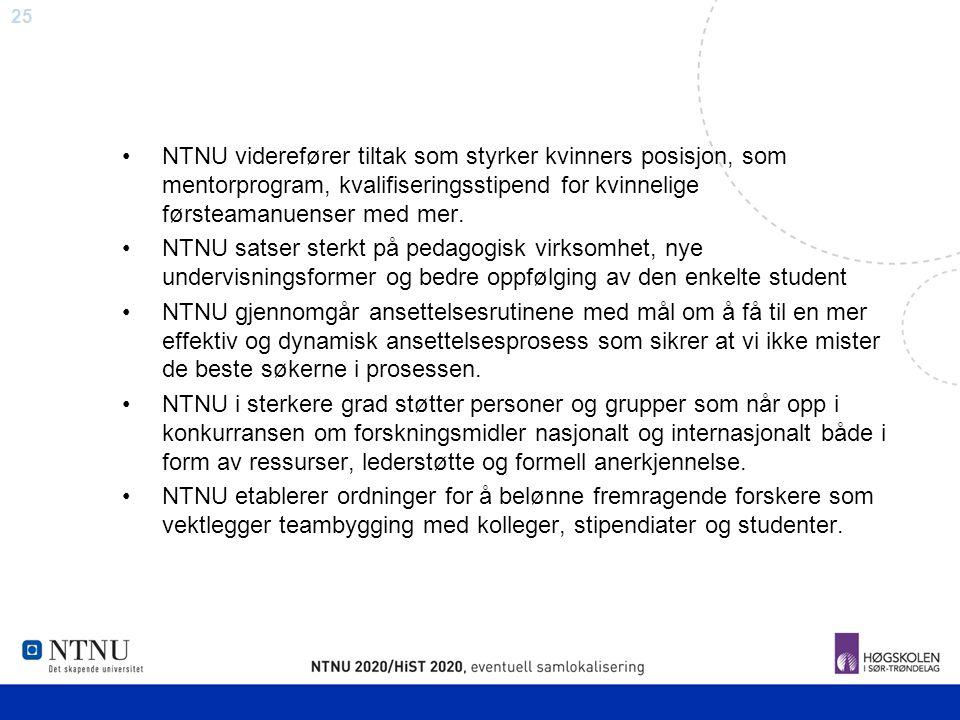 25 NTNU viderefører tiltak som styrker kvinners posisjon, som mentorprogram, kvalifiseringsstipend for kvinnelige førsteamanuenser med mer. NTNU satse