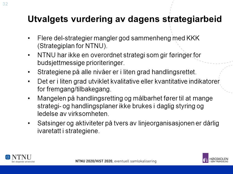 32 Utvalgets vurdering av dagens strategiarbeid Flere del-strategier mangler god sammenheng med KKK (Strategiplan for NTNU). NTNU har ikke en overordn
