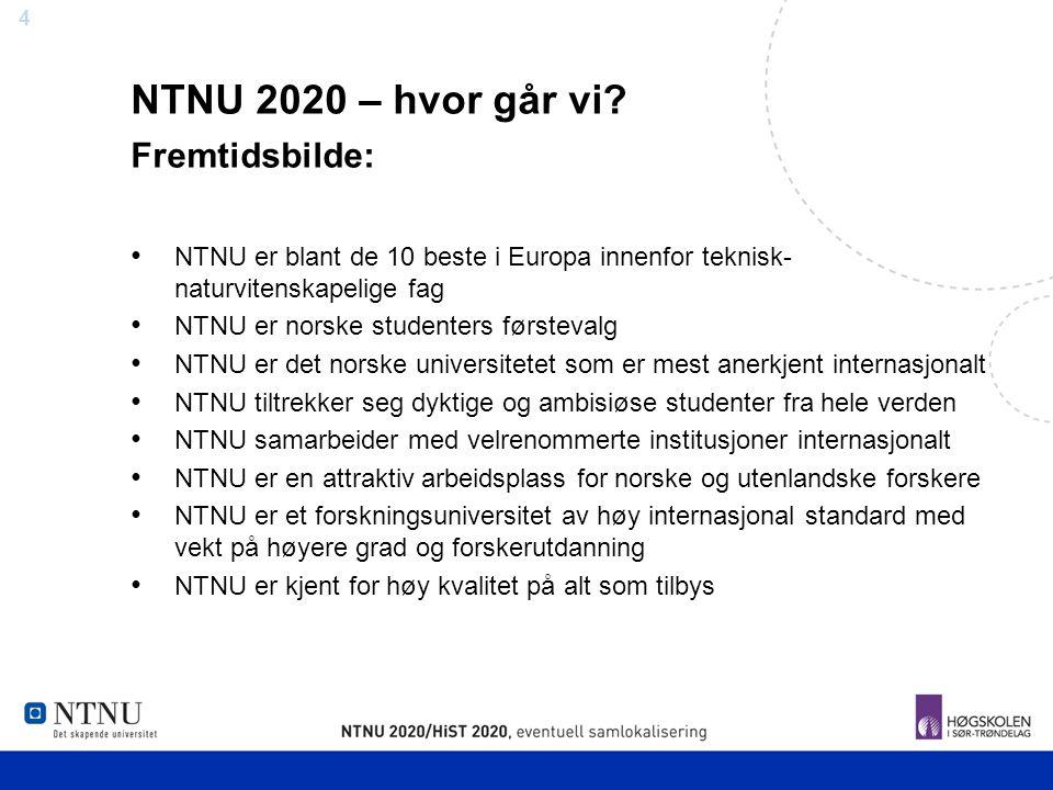 4 NTNU 2020 – hvor går vi? Fremtidsbilde: NTNU er blant de 10 beste i Europa innenfor teknisk- naturvitenskapelige fag NTNU er norske studenters først