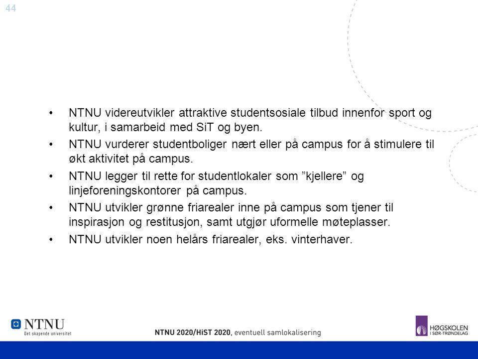 44 NTNU videreutvikler attraktive studentsosiale tilbud innenfor sport og kultur, i samarbeid med SiT og byen. NTNU vurderer studentboliger nært eller