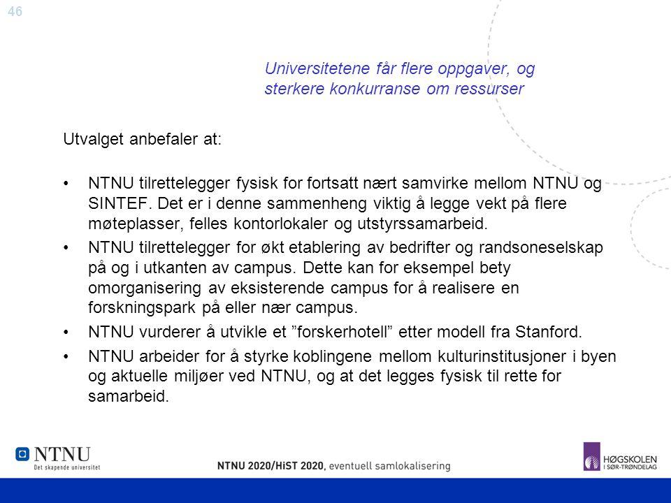 46 Universitetene får flere oppgaver, og sterkere konkurranse om ressurser Utvalget anbefaler at: NTNU tilrettelegger fysisk for fortsatt nært samvirk