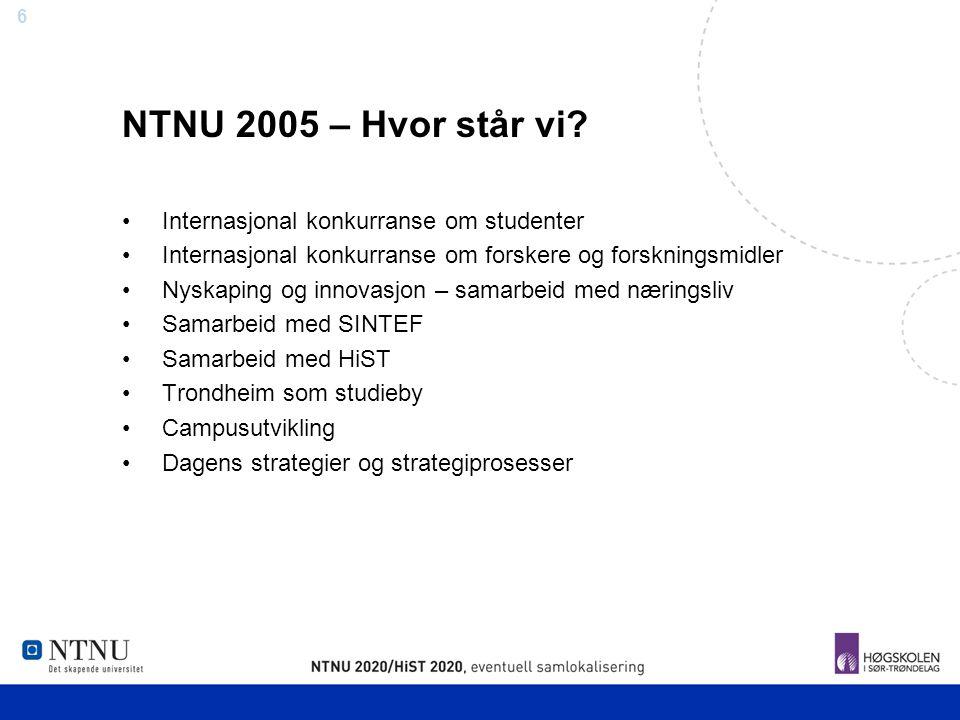 6 NTNU 2005 – Hvor står vi? Internasjonal konkurranse om studenter Internasjonal konkurranse om forskere og forskningsmidler Nyskaping og innovasjon –