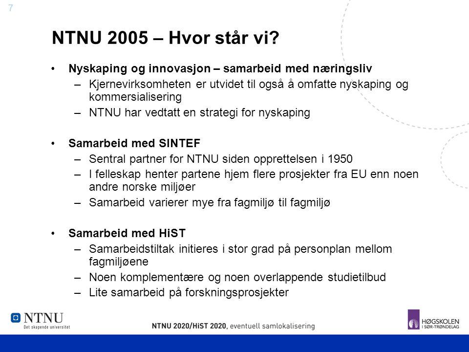 7 NTNU 2005 – Hvor står vi? Nyskaping og innovasjon – samarbeid med næringsliv –Kjernevirksomheten er utvidet til også å omfatte nyskaping og kommersi