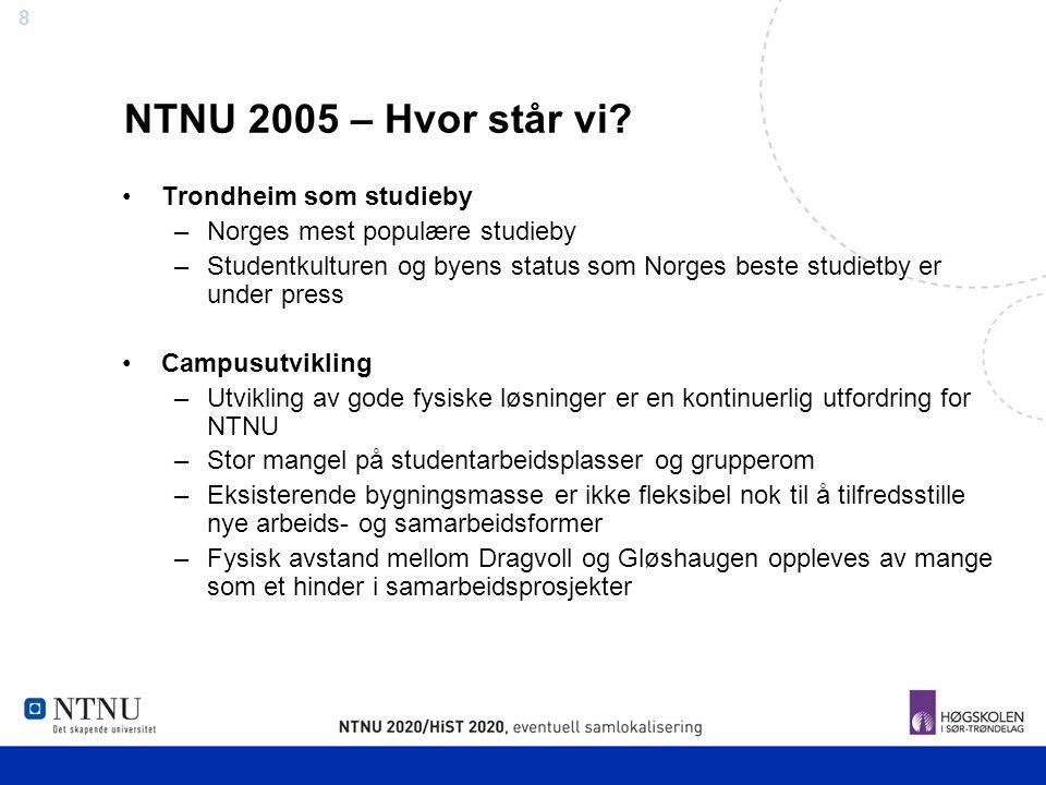 8 NTNU 2005 – Hvor står vi? Trondheim som studieby –Norges mest populære studieby –Studentkulturen og byens status som Norges beste studietby er under