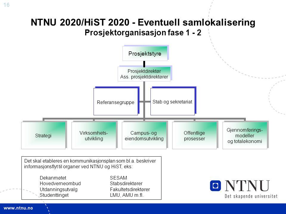16 Prosjektstyre NTNU 2020/HiST 2020 - Eventuell samlokalisering Prosjektorganisasjon fase 1 - 2 Det skal etableres en kommunikasjonsplan som bl.a. be