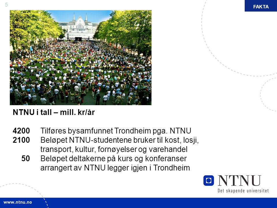 5 NTNU i tall – mill. kr/år 4200 Tilføres bysamfunnet Trondheim pga. NTNU 2100 Beløpet NTNU-studentene bruker til kost, losji, transport, kultur, forn