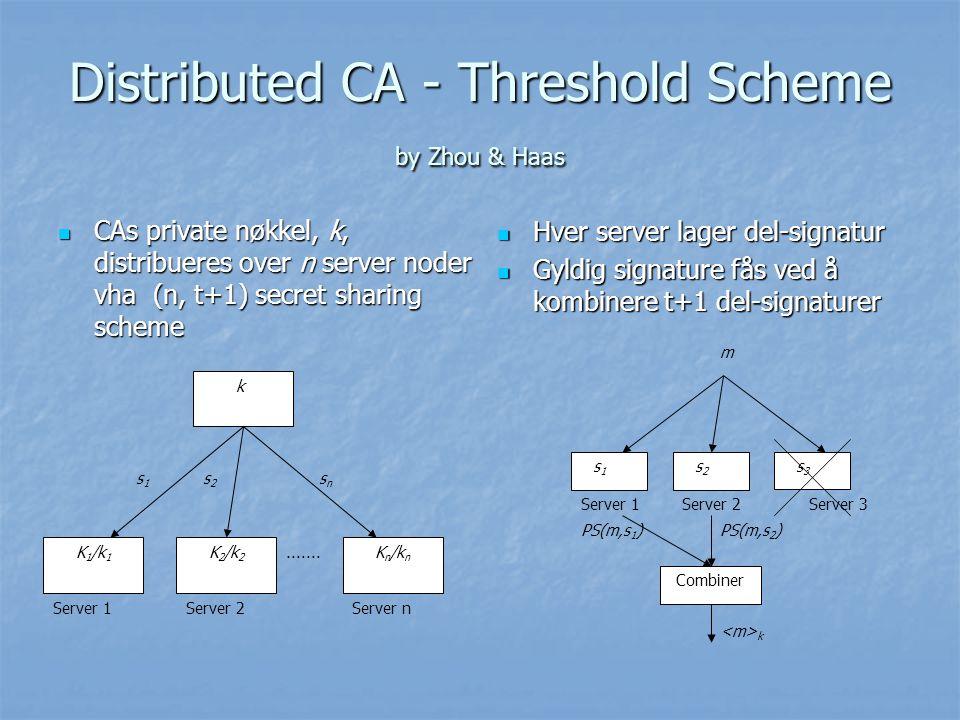 Distributed CA - Threshold Scheme by Zhou & Haas CAs private nøkkel, k, distribueres over n server noder vha (n, t+1) secret sharing scheme CAs privat