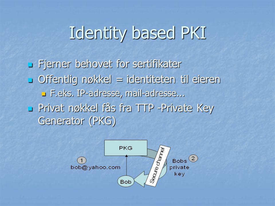 Identity based PKI Fjerner behovet for sertifikater Fjerner behovet for sertifikater Offentlig nøkkel = identiteten til eieren Offentlig nøkkel = iden