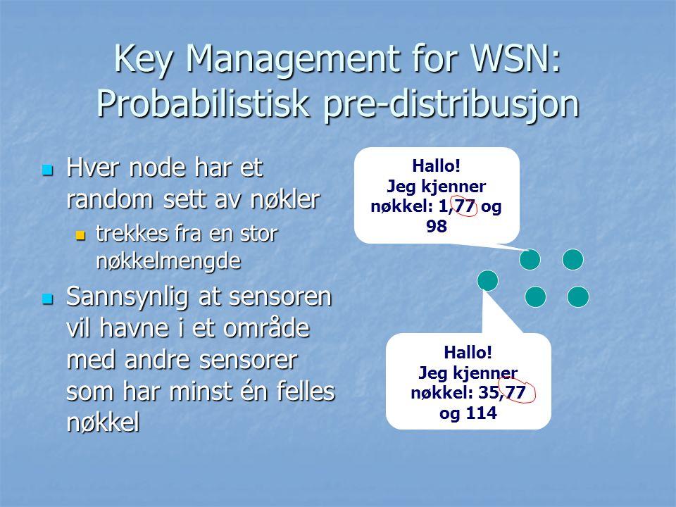 Key Management for WSN: Probabilistisk pre-distribusjon Hver node har et random sett av nøkler Hver node har et random sett av nøkler trekkes fra en s
