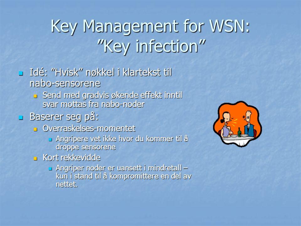 "Key Management for WSN: ""Key infection"" Idé: ""Hvisk"" nøkkel i klartekst til nabo-sensorene Idé: ""Hvisk"" nøkkel i klartekst til nabo-sensorene Send med"