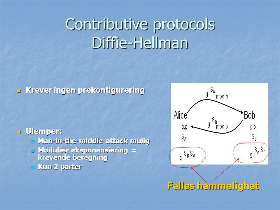 Contributive protocols Diffie-Hellman Krever ingen prekonfigurering Krever ingen prekonfigurering Felles hemmelighet Ulemper: Ulemper: Man-in-the-midd