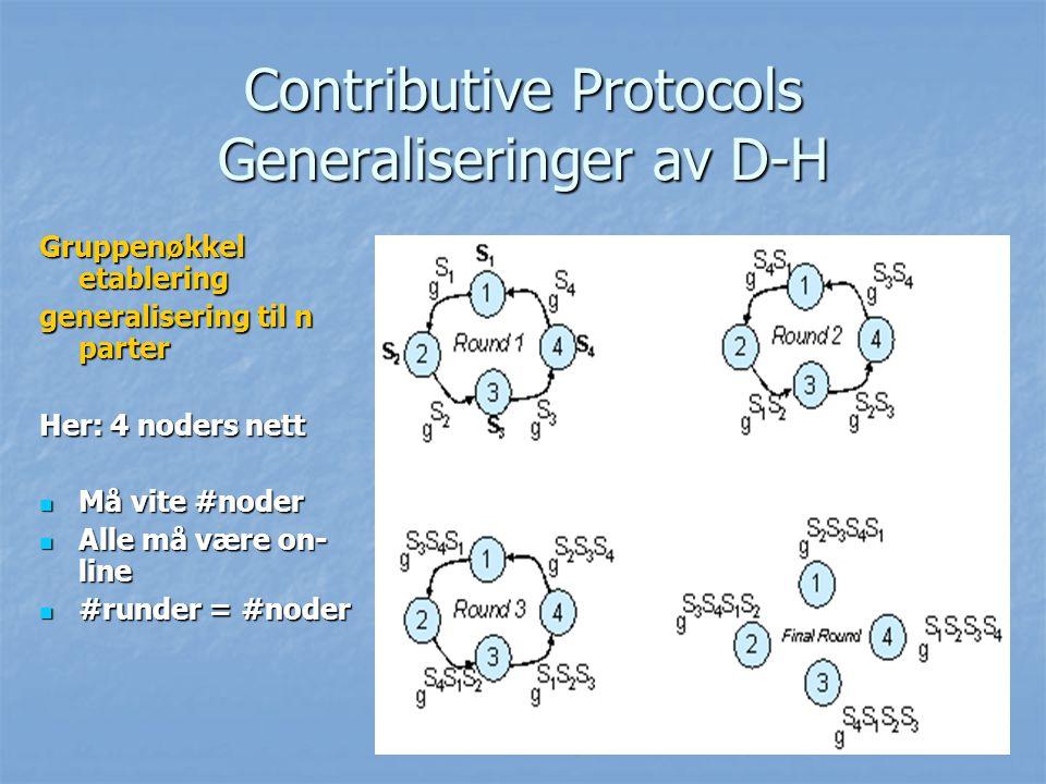 Contributive Protocols Generaliseringer av D-H Gruppenøkkel etablering generalisering til n parter Her: 4 noders nett Må vite #noder Må vite #noder Al