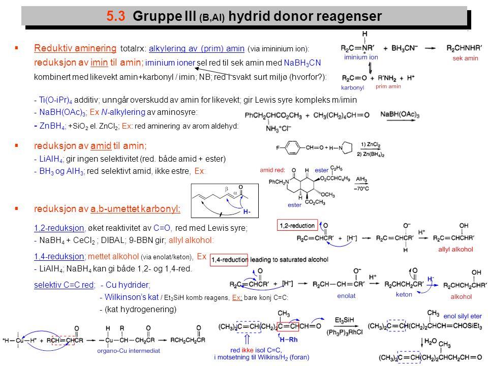 10  Reduktiv aminering totalrx: alkylering av (prim) amin (via imininium ion): reduksjon av imin til amin; iminium ioner sel red til sek amin med NaB