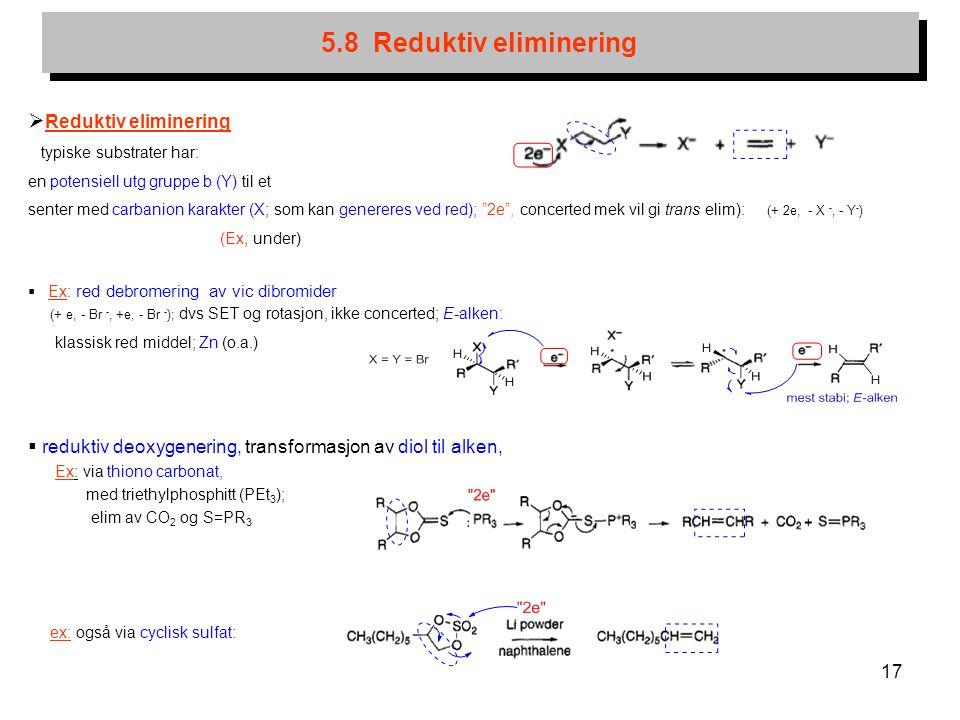 17 5.8 Reduktiv eliminering  Reduktiv eliminering typiske substrater har: en potensiell utg gruppe b (Y) til et senter med carbanion karakter (X; som