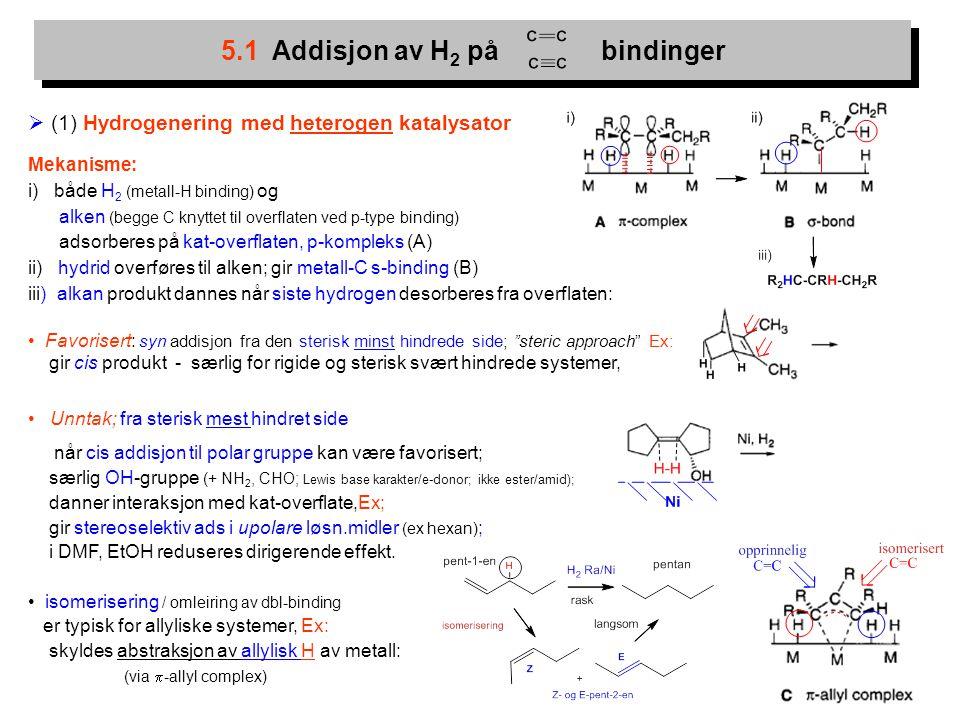 3  (1) Hydrogenering med heterogen katalysator Mekanisme: i) både H 2 (metall-H binding) og alken (begge C knyttet til overflaten ved p-type binding)