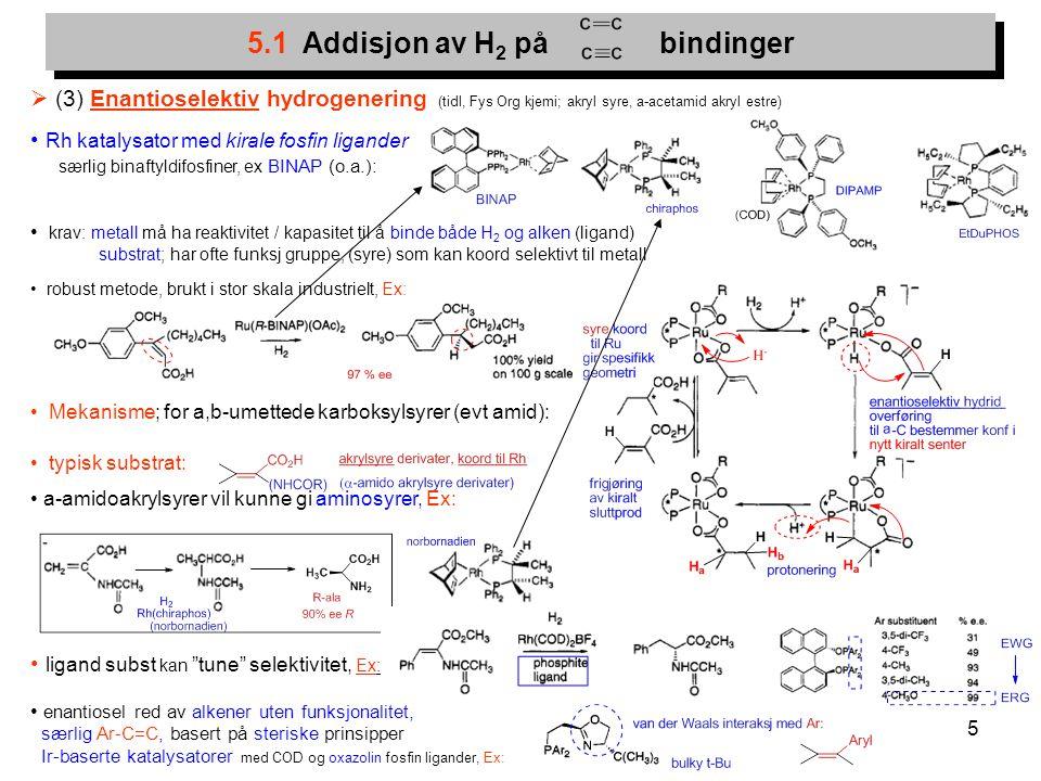 5  (3) Enantioselektiv hydrogenering (tidl, Fys Org kjemi; akryl syre, a-acetamid akryl estre) Rh katalysator med kirale fosfin ligander særlig binaf