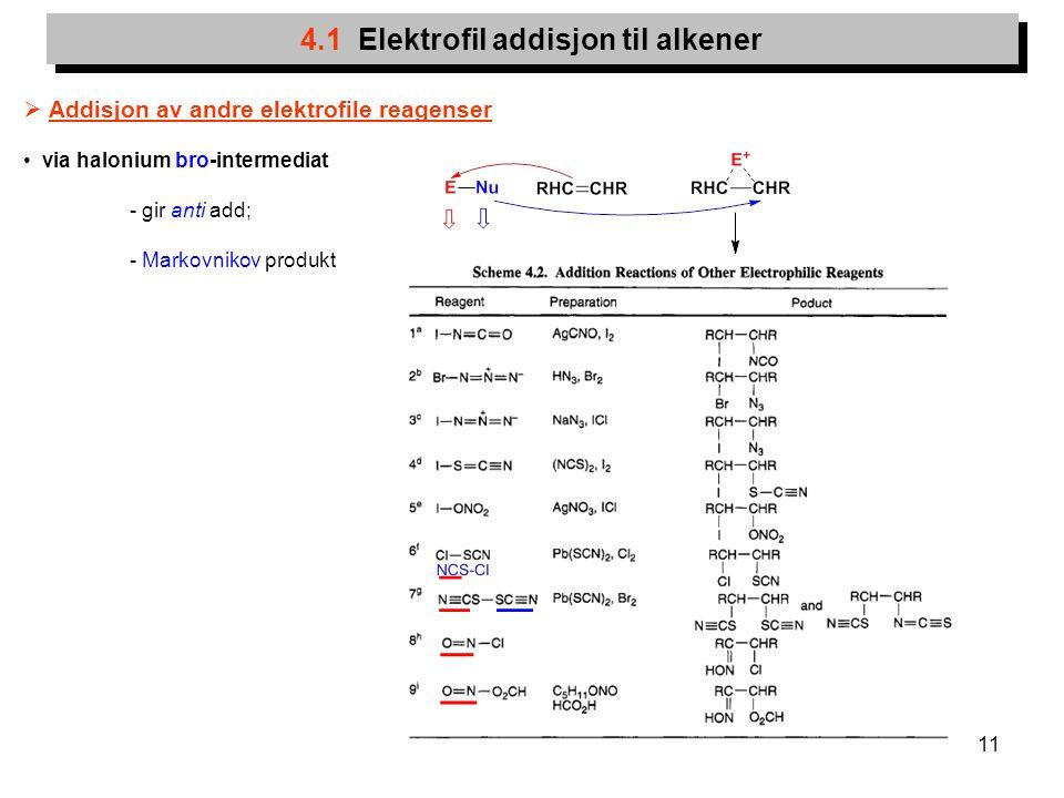 11 4.1 Elektrofil addisjon til alkener  Addisjon av andre elektrofile reagenser via halonium bro-intermediat - gir anti add; - Markovnikov produkt