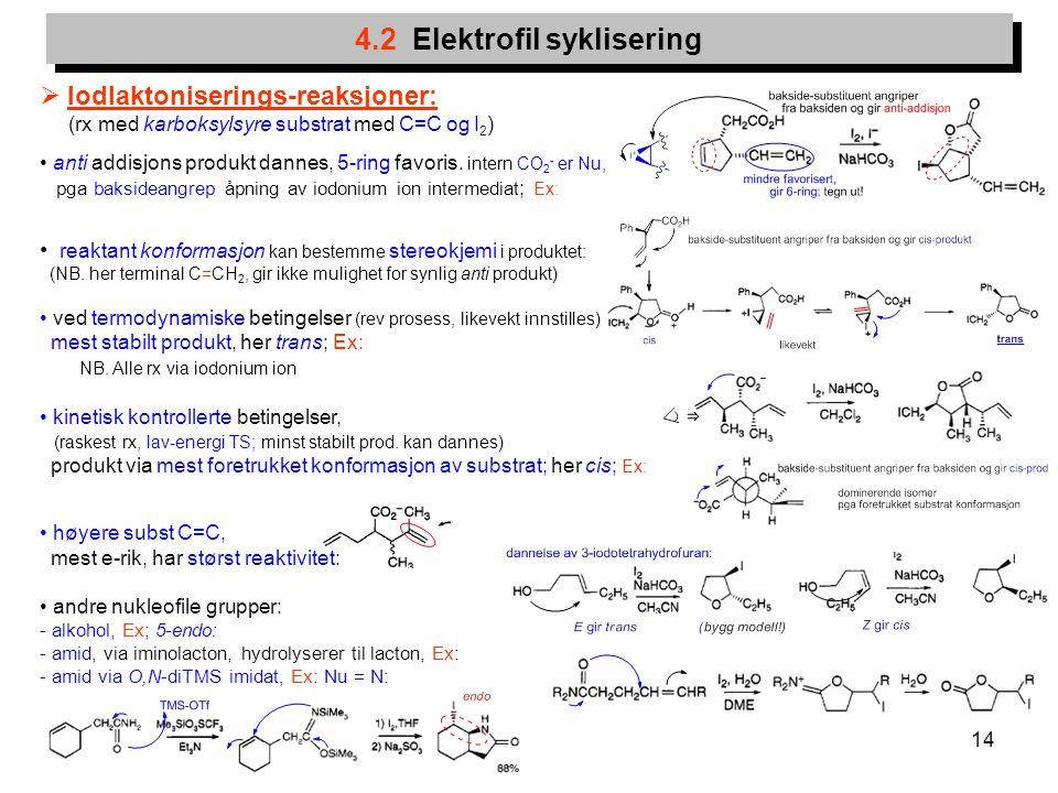 14 4.2 Elektrofil syklisering  Iodlaktoniserings-reaksjoner: (rx med karboksylsyre substrat med C=C og I 2 ) anti addisjons produkt dannes, 5-ring fa
