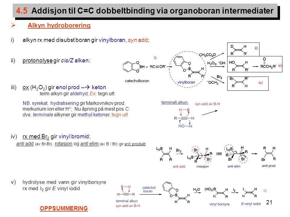 21 4.5 Addisjon til C=C dobbeltbinding via organoboran intermediater  Alkyn hydroborering i)alkyn rx med disubst boran gir vinylboran, syn add; ii)pr