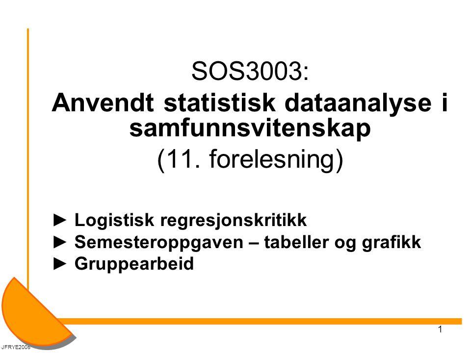 1 SOS3003: Anvendt statistisk dataanalyse i samfunnsvitenskap (11. forelesning) ► Logistisk regresjonskritikk ► Semesteroppgaven – tabeller og grafikk