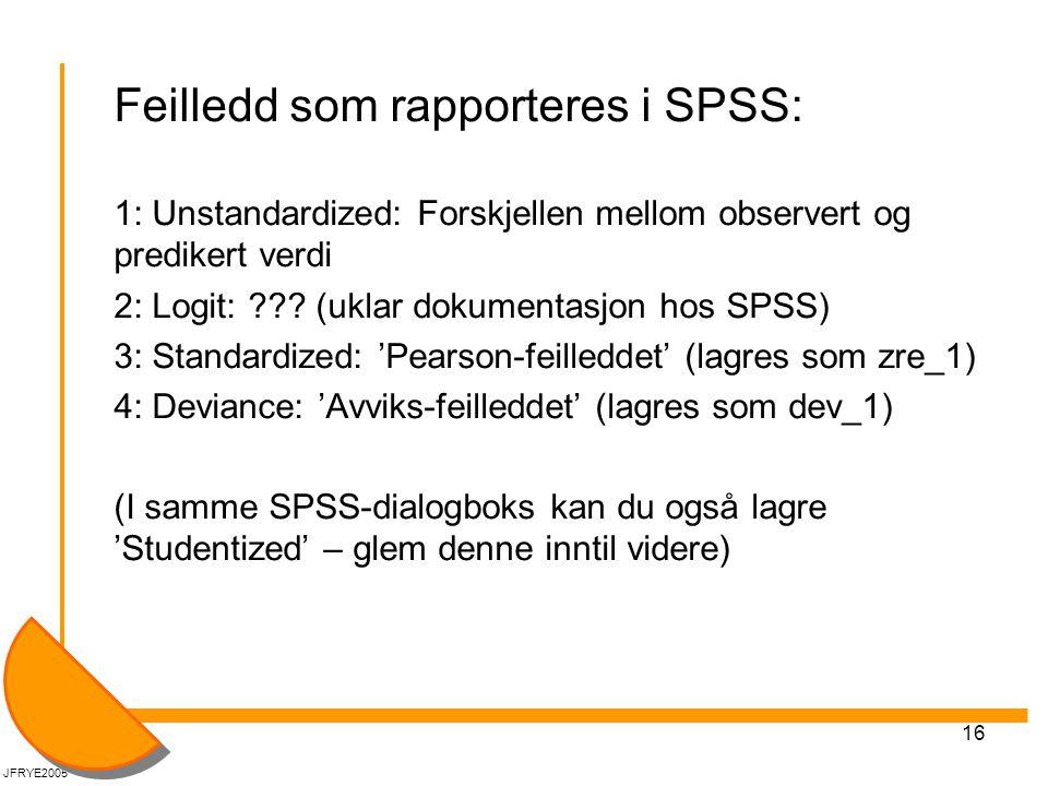 16 Feilledd som rapporteres i SPSS: 1: Unstandardized: Forskjellen mellom observert og predikert verdi 2: Logit: ??? (uklar dokumentasjon hos SPSS) 3: