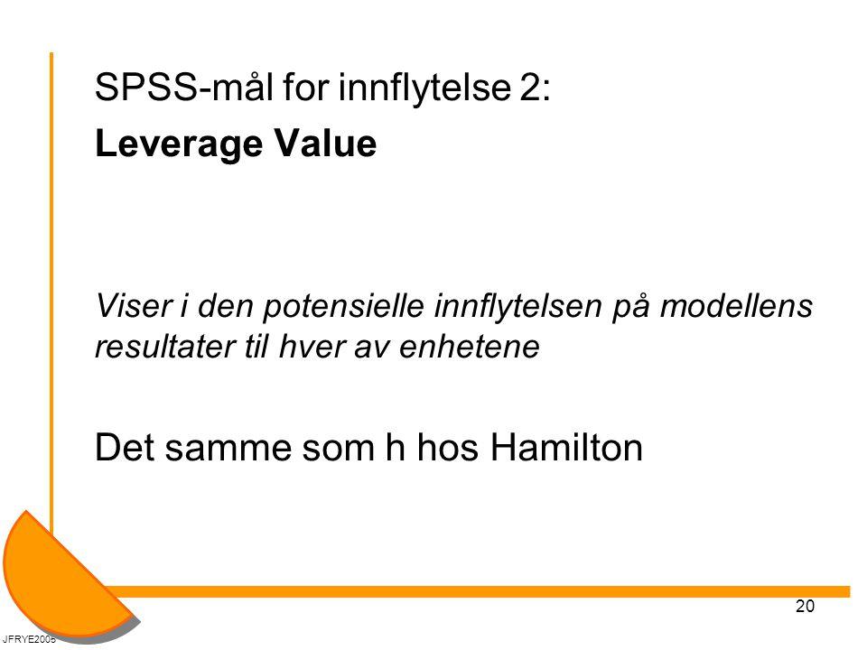 20 SPSS-mål for innflytelse 2: Leverage Value Viser i den potensielle innflytelsen på modellens resultater til hver av enhetene Det samme som h hos Hamilton JFRYE2005