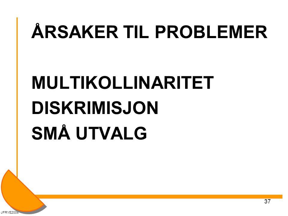 37 ÅRSAKER TIL PROBLEMER MULTIKOLLINARITET DISKRIMISJON SMÅ UTVALG JFRYE2005