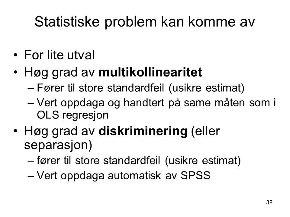 38 Statistiske problem kan komme av For lite utval Høg grad av multikollinearitet –Fører til store standardfeil (usikre estimat) –Vert oppdaga og hand