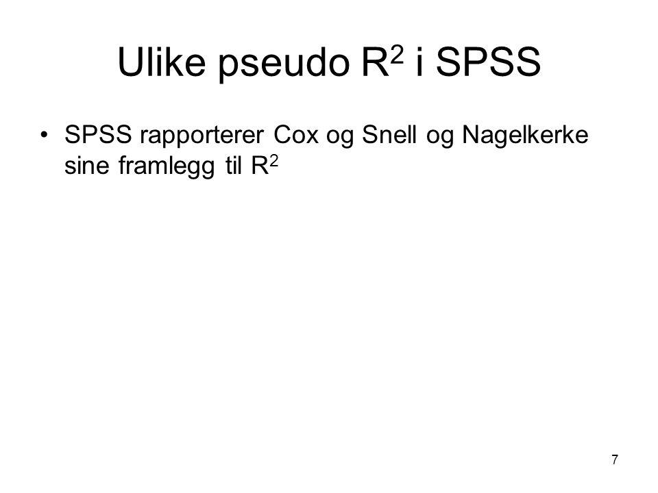 7 Ulike pseudo R 2 i SPSS SPSS rapporterer Cox og Snell og Nagelkerke sine framlegg til R 2