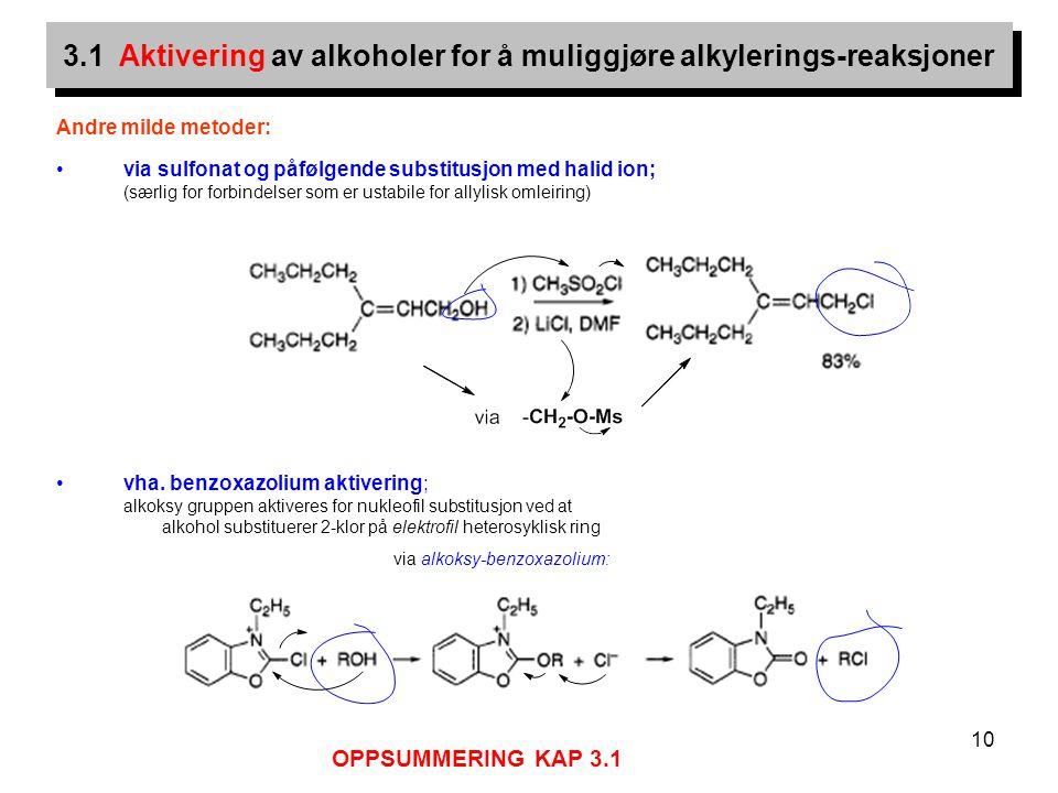 10 Andre milde metoder: via sulfonat og påfølgende substitusjon med halid ion; (særlig for forbindelser som er ustabile for allylisk omleiring) vha. b