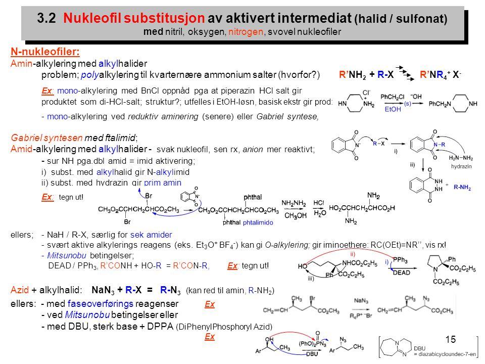 15 N-nukleofiler: Amin-alkylering med alkylhalider problem; polyalkylering til kvarternære ammonium salter (hvorfor?) R'NH 2 + R-X R'NR 4 + X - Ex: mo