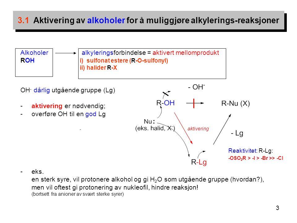 3 Alkoholer alkyleringsforbindelse = aktivert mellomprodukt ROH i) sulfonat estere (R-O-sulfonyl) ii) halider R-X OH - dårlig utgående gruppe (Lg) -ak