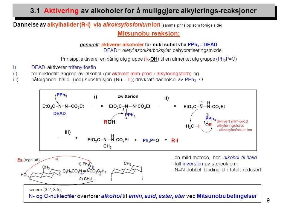 9 Dannelse av alkylhalider (R-I) via alkoksyfosfonium ion (samme prinsipp som forrige side) Mitsunobu reaksjon; generelt: aktiverer alkoholer for nukl
