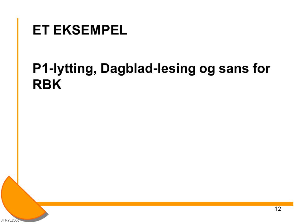 12 ET EKSEMPEL P1-lytting, Dagblad-lesing og sans for RBK JFRYE2005