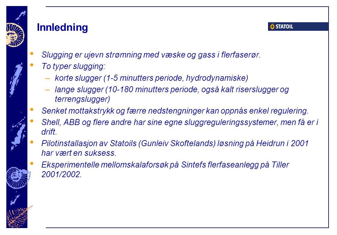 Innledning Slugging er ujevn strømning med væske og gass i flerfaserør.