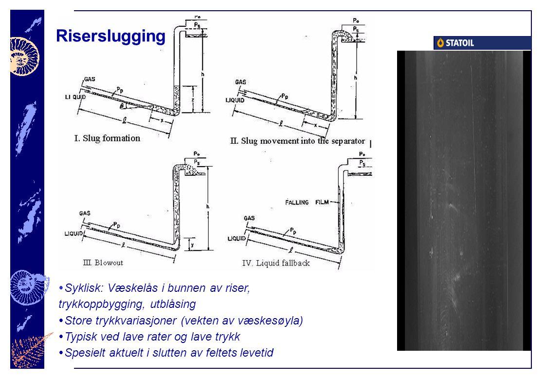 Riserslugging  Syklisk: Væskelås i bunnen av riser, trykkoppbygging, utblåsing  Store trykkvariasjoner (vekten av væskesøyla)  Typisk ved lave rater og lave trykk  Spesielt aktuelt i slutten av feltets levetid