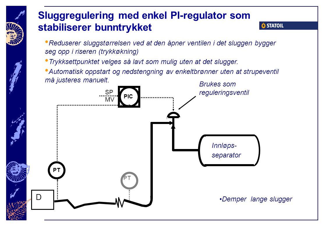 Sluggregulering med enkel PI-regulator som stabiliserer bunntrykket Innløps- separator PIC SP D PT MV PT Demper lange slugger Brukes som reguleringsventil Reduserer sluggstørrelsen ved at den åpner ventilen i det sluggen bygger seg opp i riseren (trykkøkning) Trykksettpunktet velges så lavt som mulig uten at det slugger.